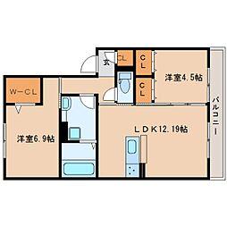 JR桜井線 桜井駅 徒歩20分の賃貸アパート 2階2LDKの間取り