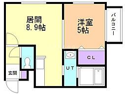 カハラ澄川 1階1LDKの間取り