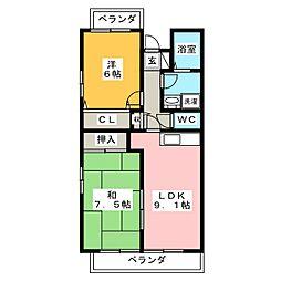 バードバレーWEST[3階]の間取り