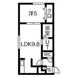 札幌市営南北線 麻生駅 徒歩10分の賃貸マンション 4階1LDKの間取り