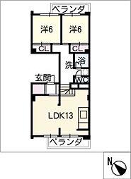 中富住宅E棟 501号室[5階]の間取り