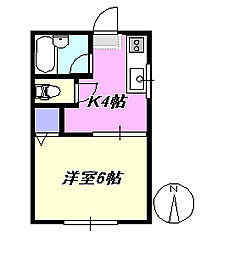 神奈川県茅ヶ崎市十間坂3丁目の賃貸アパートの間取り