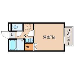 近鉄天理線 前栽駅 徒歩8分の賃貸アパート 1階1Kの間取り