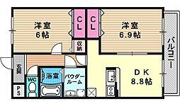 ベルファミーユ花山[102号室号室]の間取り