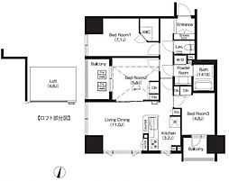 JR京浜東北・根岸線 大宮駅 徒歩7分の賃貸マンション 4階3LDKの間取り
