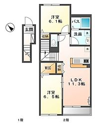 愛知県名古屋市天白区焼山2丁目の賃貸アパートの間取り