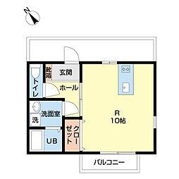 アルバトロス成田2 2階ワンルームの間取り
