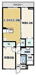 アジュール京田辺 II 3階2LDKの間取り