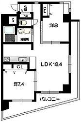 愛知県名古屋市中区橘2丁目の賃貸マンションの間取り