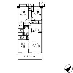 シャルマンコーポレイクシティ瀬田[5階]の間取り