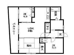 セゾンド清原[7階]の間取り