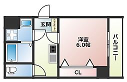 LAND GALAXY 6階1Kの間取り
