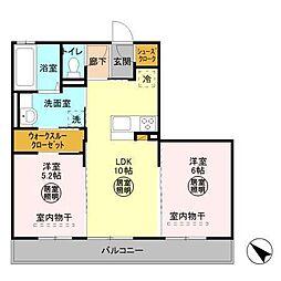 茨城県ひたちなか市大字金上の賃貸アパートの間取り