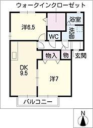 ソレイユB棟[2階]の間取り