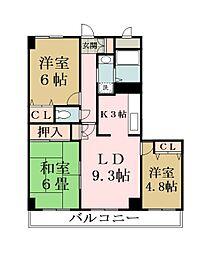 リレント谷塚[10階]の間取り
