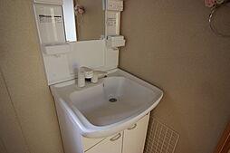離れ洗面所シンプルでコンパクトなシャンプードレッサーです。収納も付いているので便利ですね。