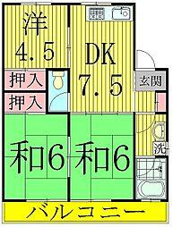 コーポKIKU B棟[2階]の間取り