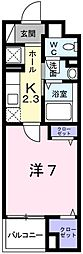 JR播但線 京口駅 徒歩6分の賃貸マンション 3階1Kの間取り