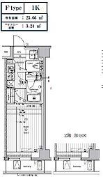 LUMEED CUBE 菊川 PREMIUM 5階1Kの間取り