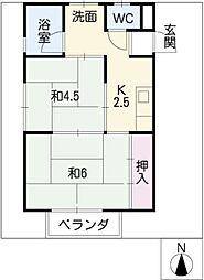 アパートYMD[1階]の間取り