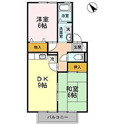 セジュール西岡崎B[202号室]の間取り