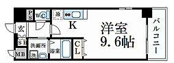 阪神本線 大石駅 徒歩3分の賃貸マンション 3階1Kの間取り