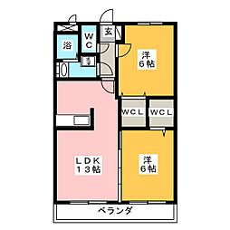 サンパティーク呉竹[1階]の間取り