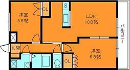フェリーチェオクトリイ2番館[2階]の間取り