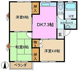 サンセゾン B棟[1階]の間取り