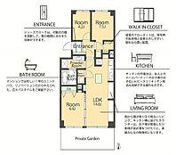 3LDK、価格1950万円、専有面積66.78m2、専用庭付
