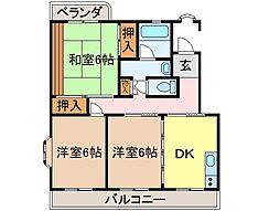 静岡県富士市五貫島の賃貸マンションの間取り