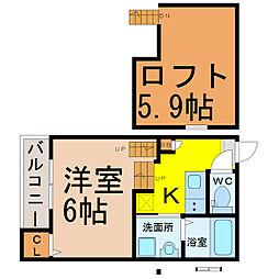 愛知県名古屋市北区東水切町3丁目の賃貸アパートの間取り