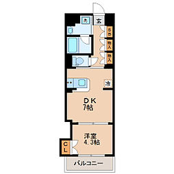 仙台市地下鉄東西線 大町西公園駅 徒歩5分の賃貸マンション 3階1DKの間取り