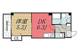 JR総武線 千葉駅 徒歩12分の賃貸マンション 2階1DKの間取り