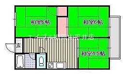 岡山県岡山市中区国富1丁目の賃貸マンションの間取り