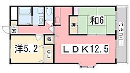 兵庫県姫路市飾磨区矢倉1丁目の賃貸マンションの間取り
