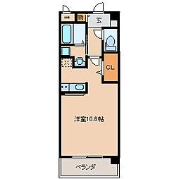 クオリアけやき通り 5階ワンルームの間取り