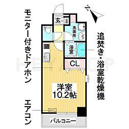 名古屋市営桜通線 野並駅 徒歩2分の賃貸マンション 9階ワンルームの間取り