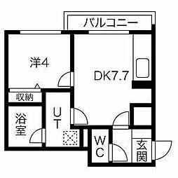 札幌市営東西線 西28丁目駅 徒歩11分の賃貸マンション 4階1DKの間取り