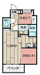 Studie TOBIHATA[206号室]の間取り