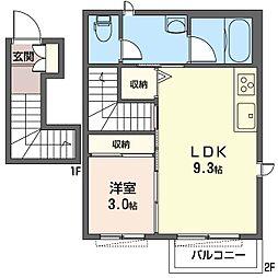 カルム・テラス新ゆりMAST 2階1LDKの間取り