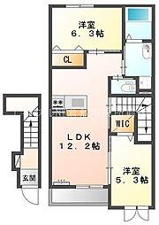 仮)ロココモダンX東塚A棟[2階]の間取り