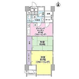 山王スカイマンション bt[1307kk号室]の間取り