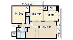 大阪府摂津市東別府3丁目の賃貸マンションの間取り