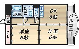 メゾン・ド・南桜塚[502号室]の間取り
