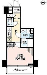 東京メトロ千代田線 湯島駅 徒歩1分の賃貸マンション 13階1Kの間取り
