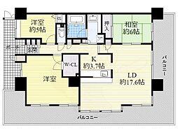ディアステージ江坂G-TOWER 17階3LDKの間取り
