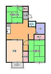 埼玉県北本市本宿3丁目の賃貸アパートの間取り