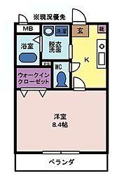 プルミエ 2階1Kの間取り
