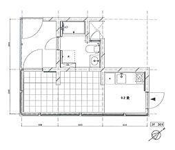 Mon-naka Apartment Terrace 3階ワンルームの間取り
